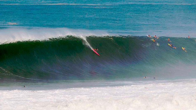 Greg Long on a wave that everyone on the planet wants to watch.