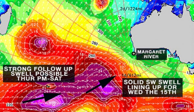 Those lovely purple blobs are headed straight for Margie's. Photo: Surfline