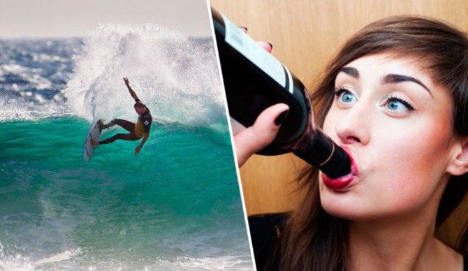If she doesn't surf, there is so much wine to drink. And other things, too. But there's so much wine!
