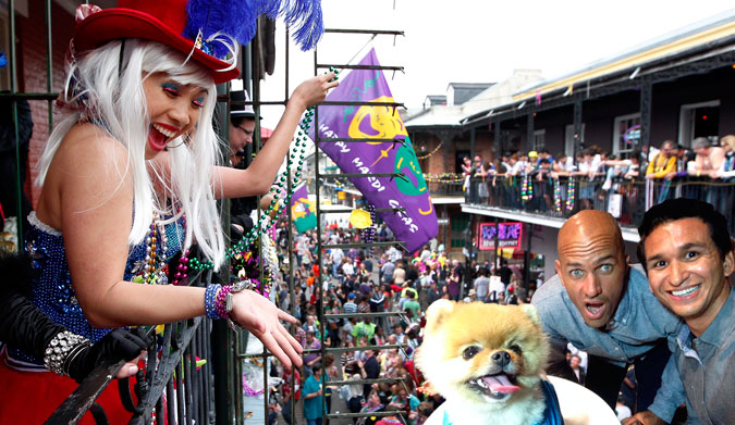 And then, for good measure, we ended up at Mardi Gras. JiffPom slayed it with the beads.