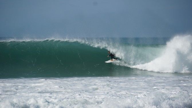 LUEX'S CEO Tim getting barreled on a family trip to J-Bay