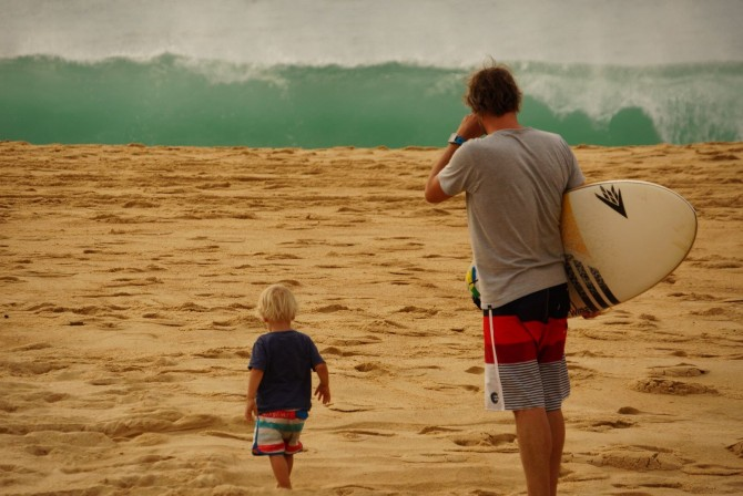 LUEX's CEO and his son Moritz checking out the surf.