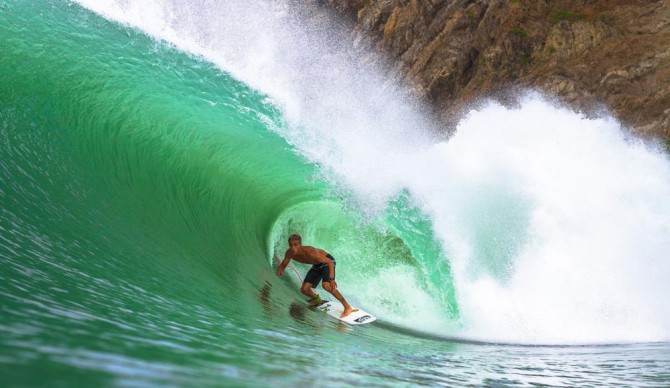 All the hair dye in the world couldn't make this barrel more colorful. Luke Davis would agree. Photo: Ryan Chachi Craig