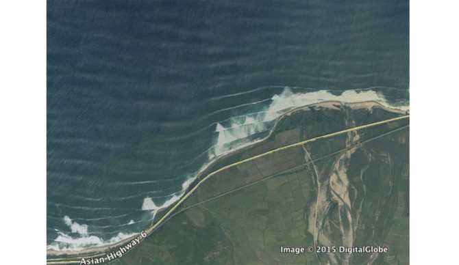 Satellite images definitely make this look like a promising location for good waves.