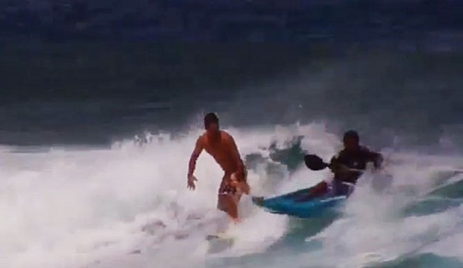 If you've ever been burned by a surf kayaker, well, this is the best thing you can possibly do. Surf the surf kayaker.