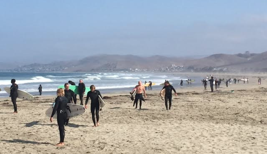 Surfers fled the water on Wednesday at Morro bay after a shark sighting. Photo: KSBY/Dawn Feuerberg