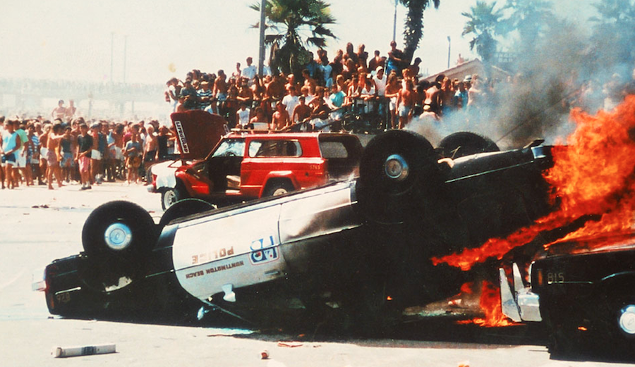 The 1986 OP Pro in Huntington Beach will go down as a dark day in surfing history. Photo: John Lyman