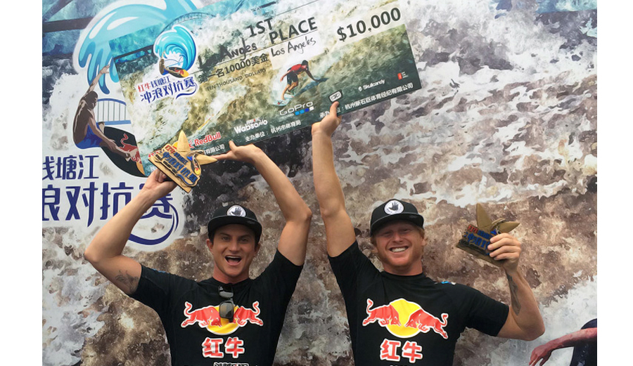 Alex Gray and Cheyne Magnusson take home the gold at Red Bull's Qiantang River Shoot Out in China. Photo: Body Glove