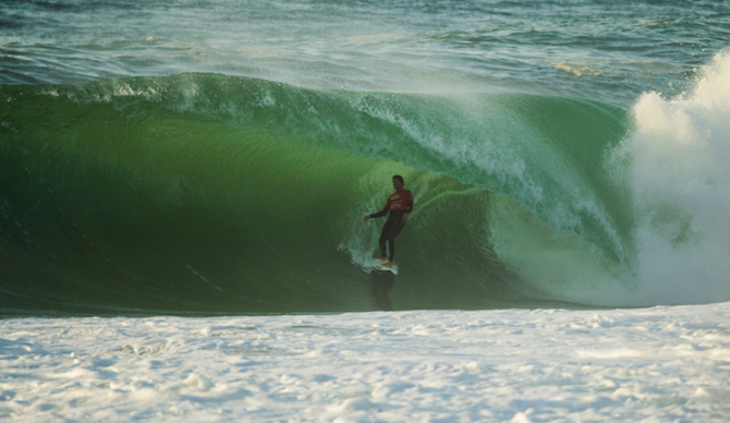Dane Reynolds leaning into a mean one during his wildcard run at the 2012 Quik Pro France. Photo: Joli/ESPN