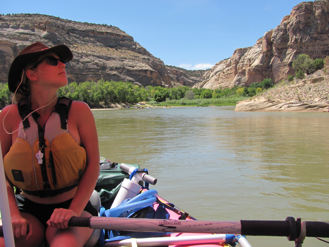ASC athlete Jessica Kilroy collected one set of water samples during a 5-day rafting trip along the Green River. Photo credit: Sequoia Haughey