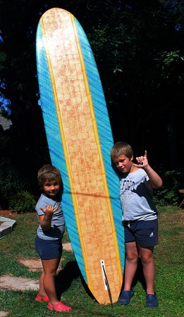 It runs in the family. My grandsons, Elio and Luca, ages 8 and l0, enjoying my favorite piece of functional art.