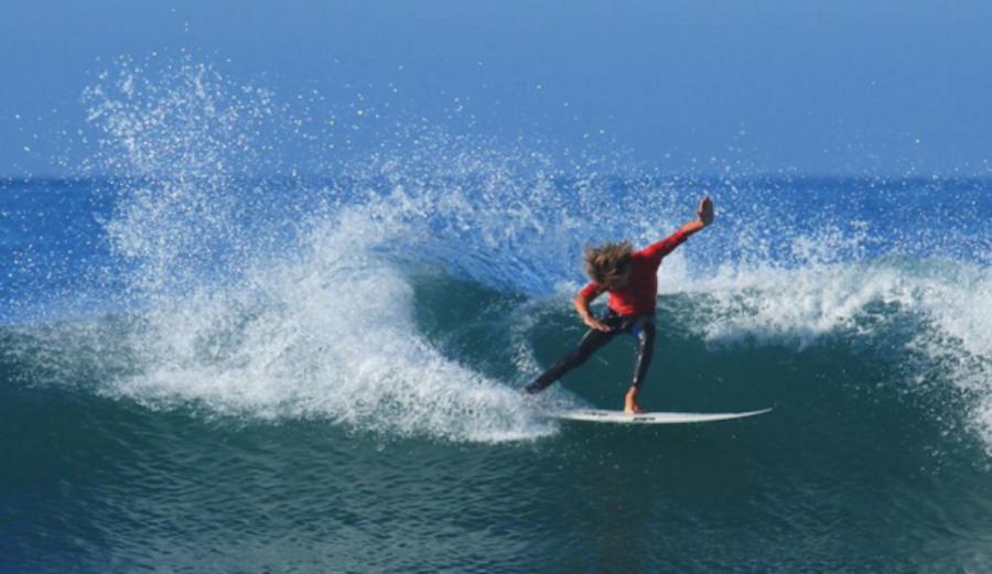 San Clemente's Kade Matson dipping his rail. Photo: @kadematson