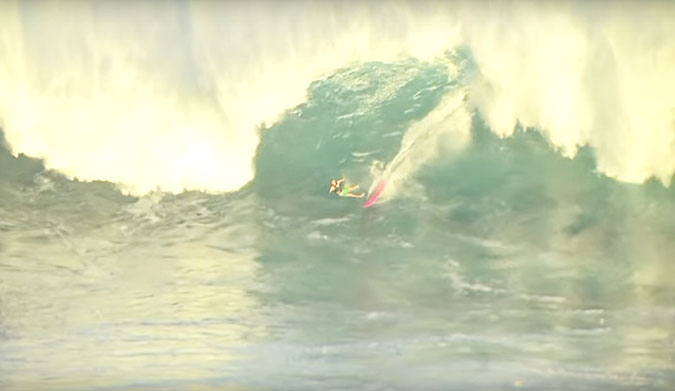 19-year-old Adam Amin on the tail end of a insider at Jaws.