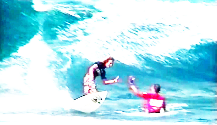Rob Machado Kelly Slater High Five