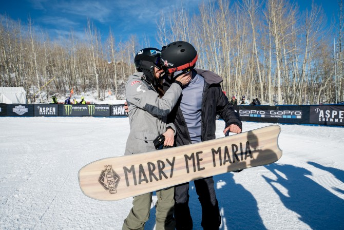 Aspen, CO - January 27, 2016 - Buttermilk Mountain: Jonathan Cheever proposing to Maria Ramberger during X Games Aspen 2016 (Photo by Matt Morning / ESPN Images)