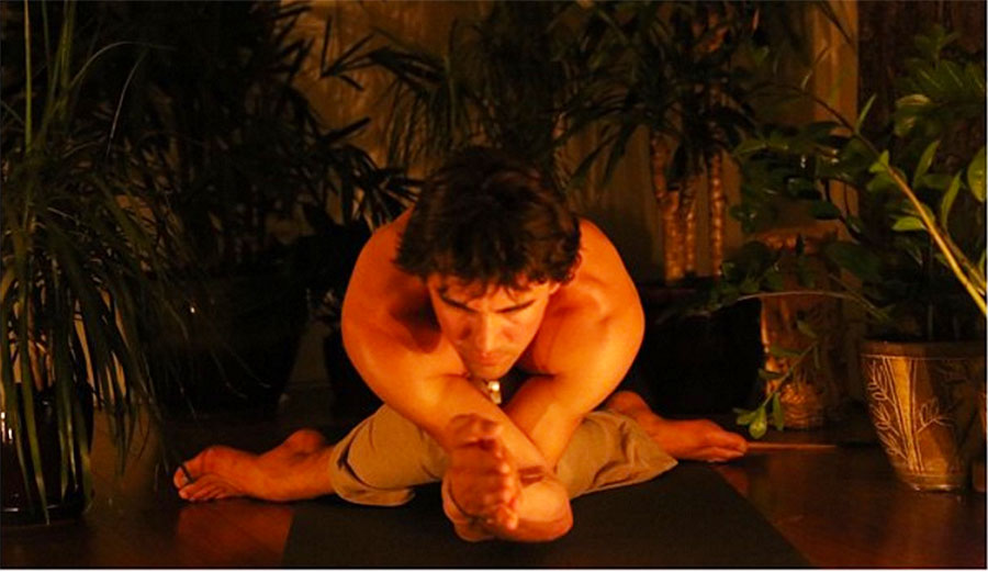 Gomukhasana (cowface/legs) and Garudasana (eagle/arms) with a forward fold.