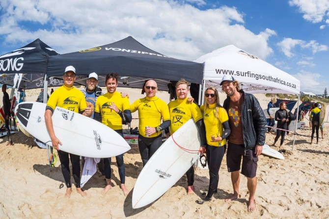 The Joburg Boardriders, South Africa's first-ever landlocked surf team. From left to right: Nathan Gernetzky, Shane Rielly (manager) , Shane Warren, Byron Loker, Kevin Trevaskis, Tasha Mentasti, and Dominic Barnardt (photographer).