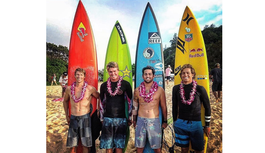 Maui's finest: Ian Walsh, Albee Layer, Billy Kemper, and Kai Lenny at the Eddie Aikau opening ceremony. Notice how much smaller Albee's board is than the rest of them.