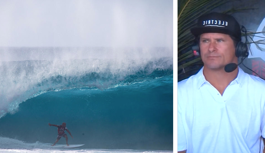 Wassel eyeing Slater from the commentators booth, ready to make a sly remark. Photo: WSL / Freesurf/Heff/Volcom