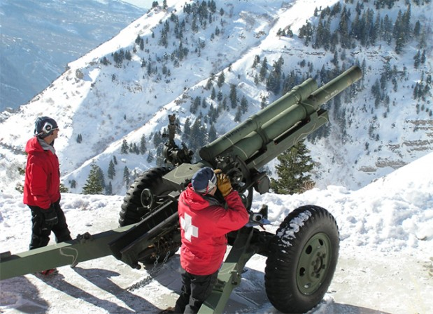 WWII-era Howitzers are still used to trigger slides miles away. Photo: UtahAdventurejournal.com