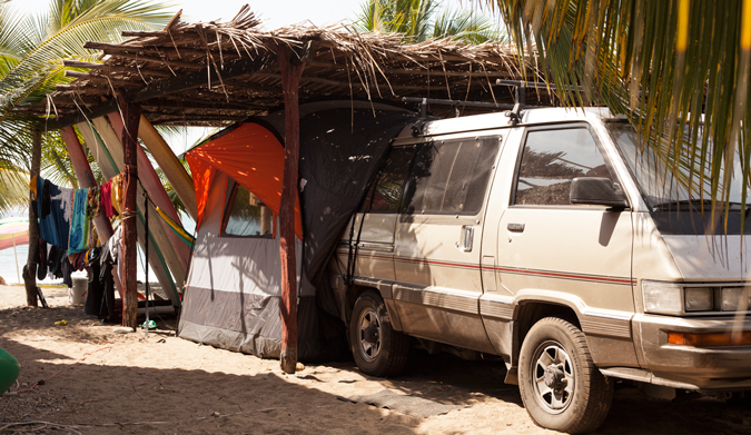 "Base camp: our ""home"" in Saladita. Photo Courtesy of Two Feet and Classy"