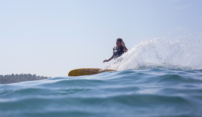 Kristy Murphy, 2005 World Longboard Champion riding her Chris Birch mini simmons. Photo Courtesy of Two Feet and Classy