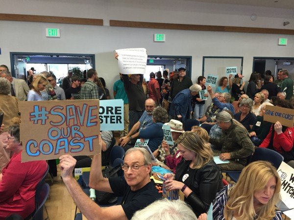 The #SaveOurCoast scene inside the February Coastal Commission hearing at which Dr. Lester was fired.