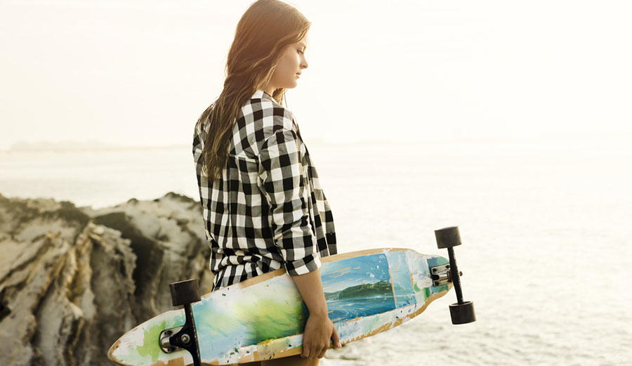 Many of the same muscles are used on a skateboard.
