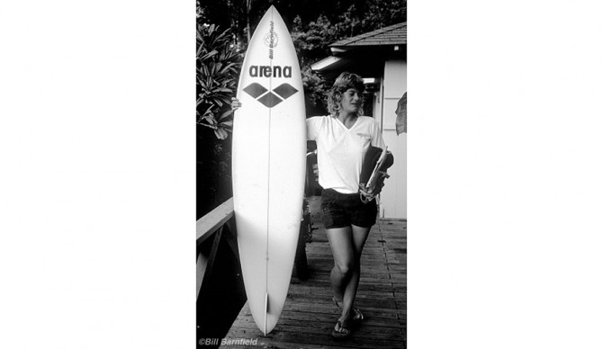 Sandy Ordille with her Bill Barnfield surfboard in Hawaii, 1977
