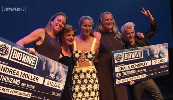 Andrea Moller, Bianca Valenti, Paige Alms, and Keala Kennelly celebrate an historic evening at the 2016 Big Wave Awards Photo: Unwavering