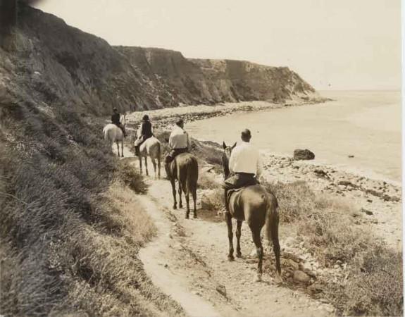 "Old school horseback riding on RAT (""Right After Torrance"") Beach."