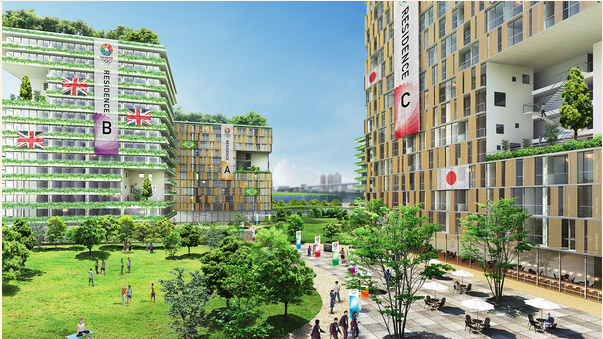 A computer-generated image of the 17,000-bedroom Olympic Village, to be built on Harumi island in Tokyo Bay.