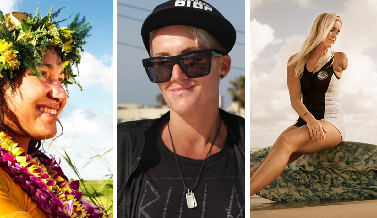Keala Kennelly, Bethany Hamilton and Carissa Moore