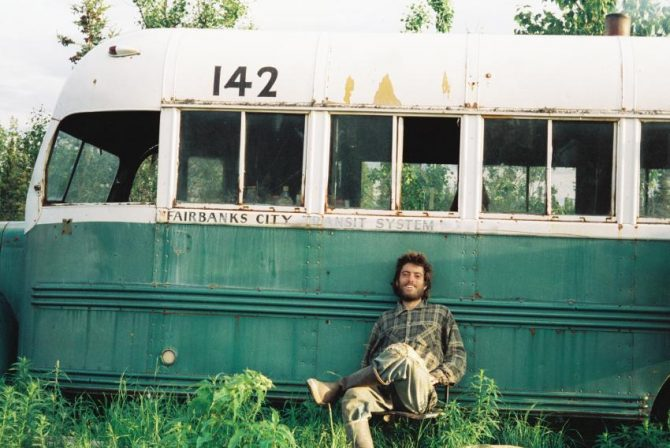 """famous last photograph of Chris McCandless, in front of the famed """"magic bus"""""""
