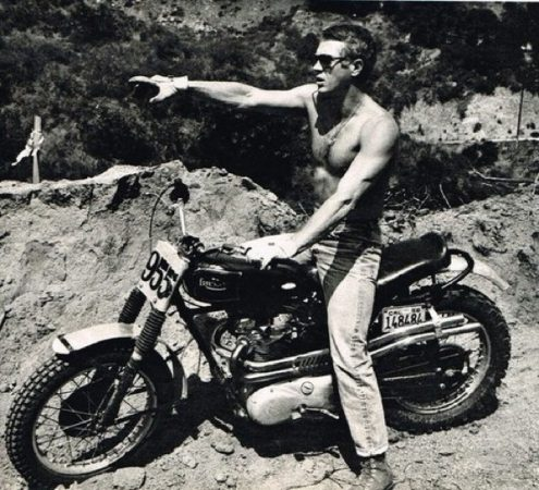 Steve McQueen on a classic desert sled. Photo: Flickr