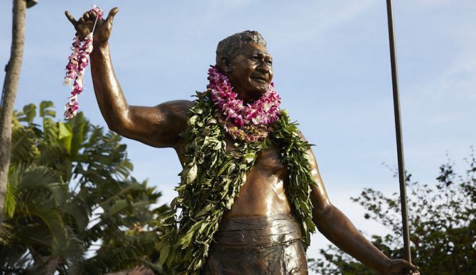 The shaka was born in Hawaii. At the Polynesian Cultural Center in Oahu, the statue of Hamana Kalili commemorates the man's life and contribution of the shaka to the world. But is using it as non-Hawaiian surfers  a form of cultural appropriation? Photo: Polynesian Cultural Center