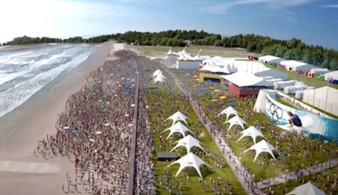 Surfing will take place on the beach with music and sponsor showcases. This rendering shows what the scene at Tokyo might look like.