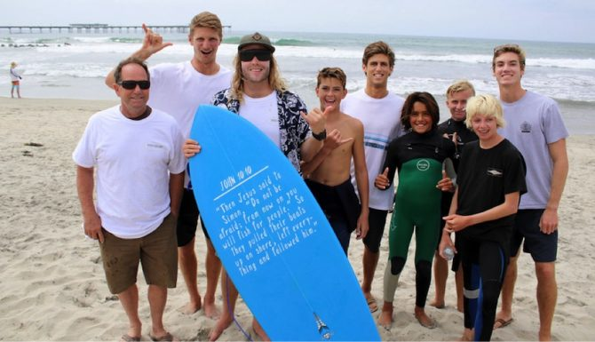 Shaper Hank Warner with some of the Jesus Fish Fest Competitors. Photo: Chris Kelly