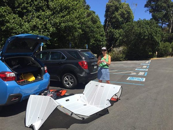 Unfolding the folding kayak.