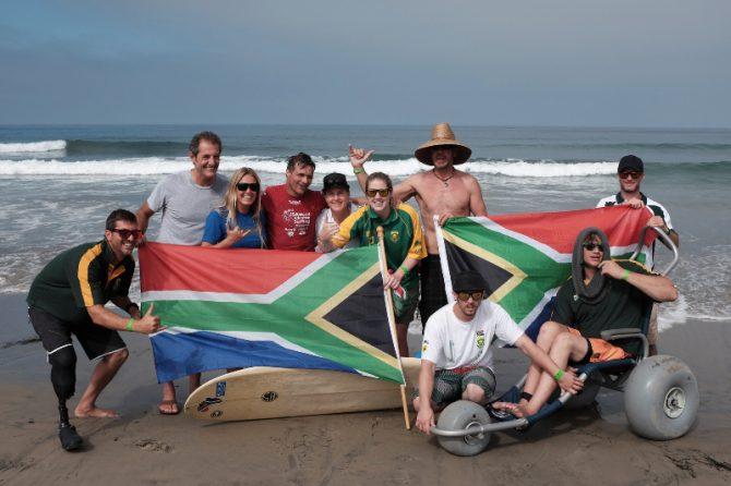 2015 ISA Surfing Adaptive World Championship Team with Shaun Tomson. Photo: Coffey