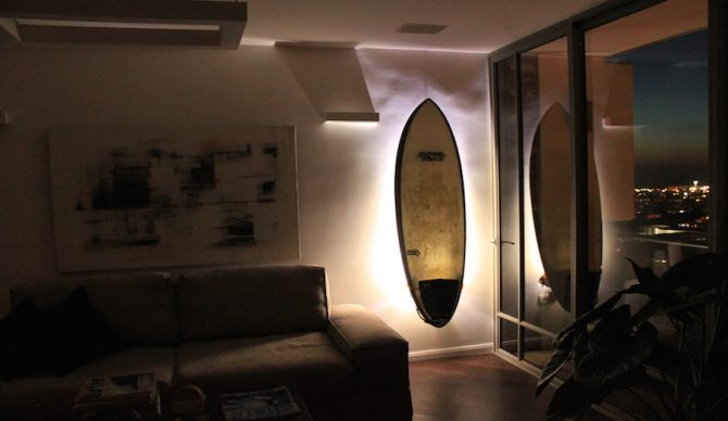 Air Surf Rack Ignited - Perfect for displaying your board at night. Photo: Air Surf Rack