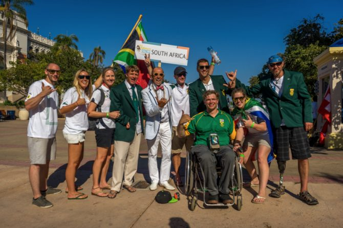 Team South Africa at the 2015 ISA World Adaptive Championship Opening Ceremony. Photo: Coffey