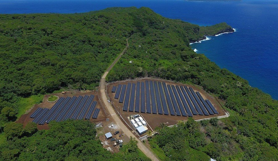 Ta'u now hosts a solar power and battery storage-enabled microgrid that can supply nearly 100 percent of the island's power needs from renewable energy. Image: SolarCity