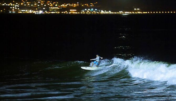 A local surfer gets his nighttime shred on. Photo: Facebook/Municipalidad de Lima