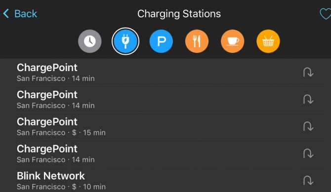 Here's the handy screen that will tell you where you're going to get the nearest charge in a pinch.