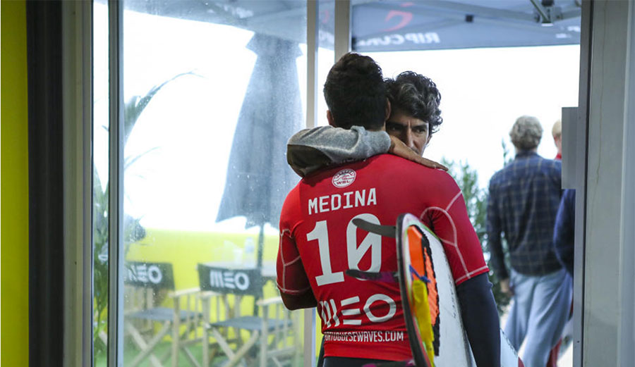 Charles Rodrigues won't be watching Gabriel Medina from the sidelines until April. Photo: World Surf League/Kirstin