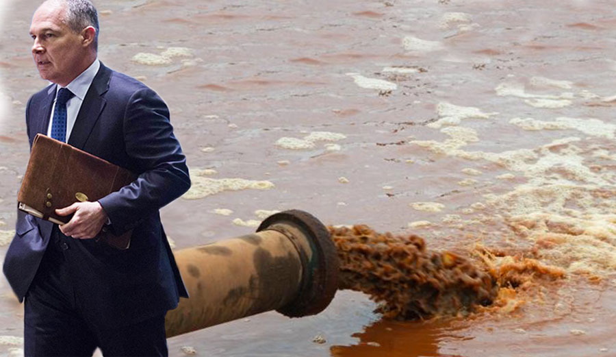 Scott Pruitt, the new head of the EPA, shits on the environment.