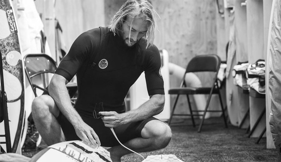 Owen Wright prepping his gear. Will we see him as a wildcard for the 2017 season? Photo: WSL