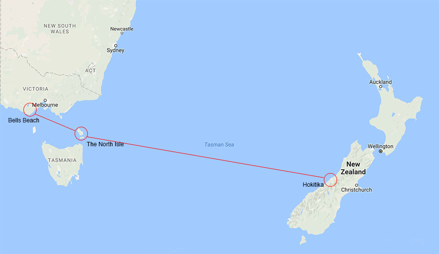 Bodhi's escape route went from Bells Beach to the Tasmanian Island of North Isle, then on to a small town in New Zealand.