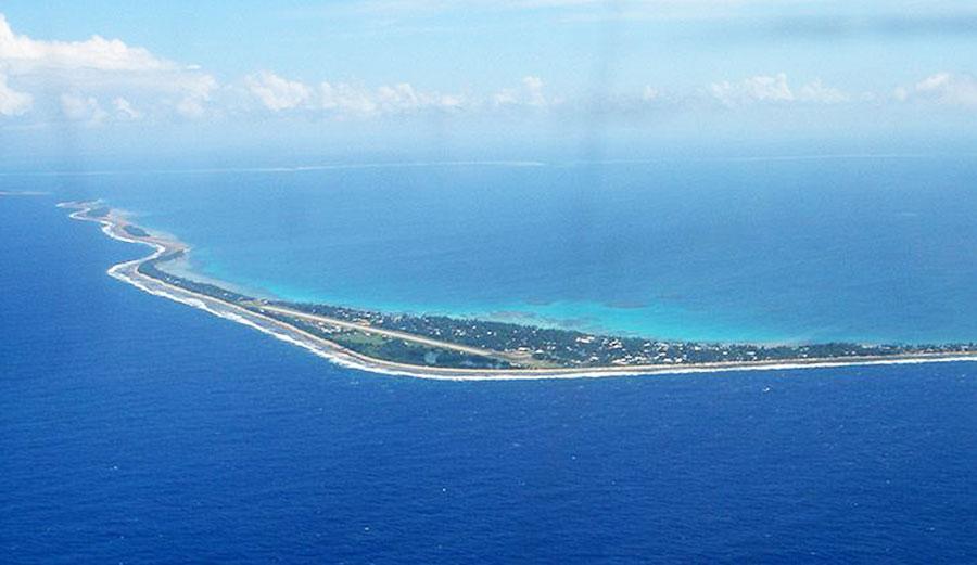 The capital island of Tuvalu, Funafuti, is on average 2 meters above sea level. Image: World Atlas